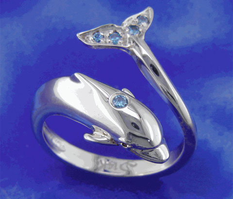 Blue Diamond Dolphin Ring