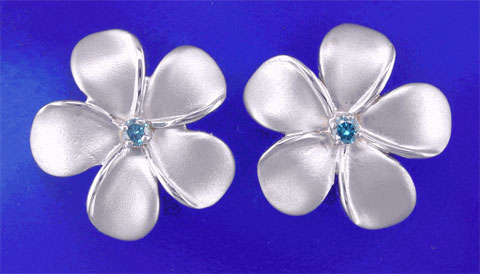 Blue Diamond Plumeria Earrings