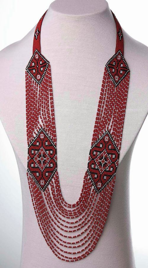 Long Beaded Necklace Ukrainian Folk