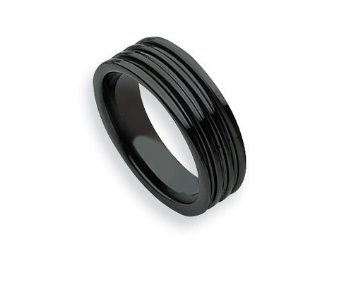 Black And Gold Mens Wedding Band 40 Ideal Black Ceramic Grooved Ring