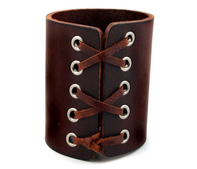 Brown Laced Leather Cuff