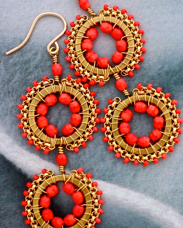 Coral Beadwork Earrings