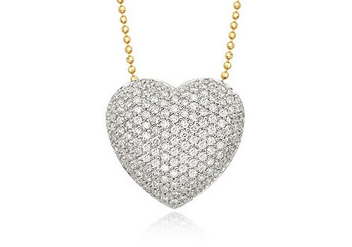 Diamond Covered Heart Necklace