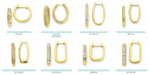 Diamond Rectangle Hoop Earrings