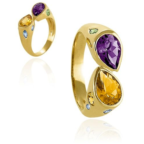 Gold Amethyst and Ctrine Ring
