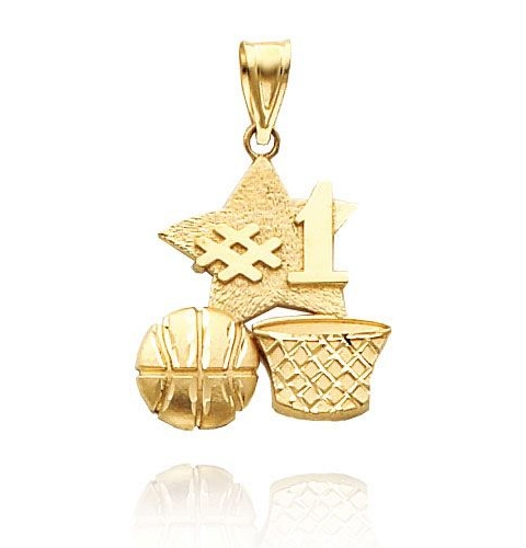Gold Basketball Charm