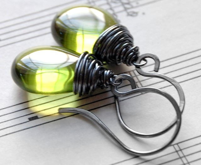 Olive Glass Earrings