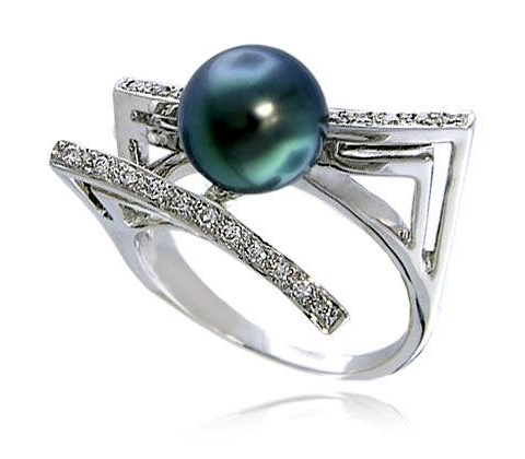 Tahitian Pearl Engagement Ring