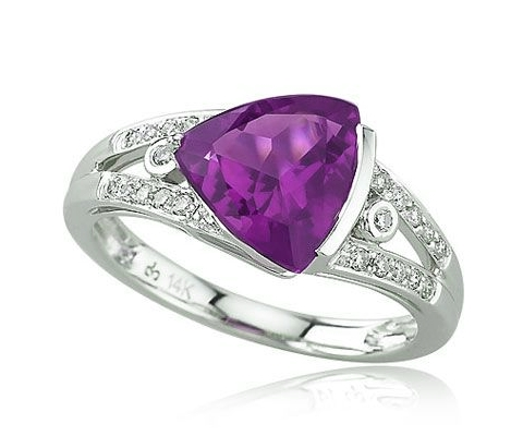 White Gold Trillion Cut Amethyst Ring