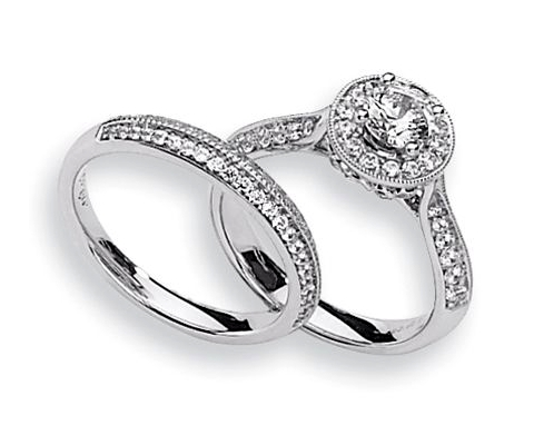 Unique Platinum Engagement Ring Set