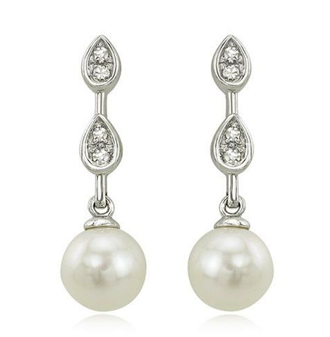 14K White Gold Pearl Drop Earrings