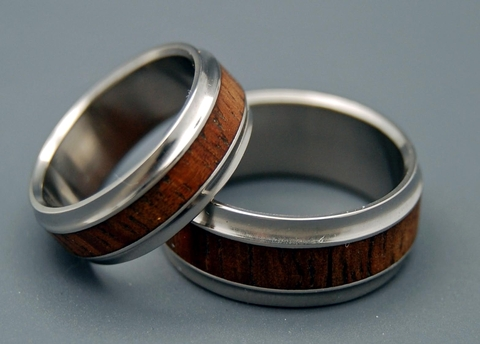 Wood Inlay Ring Set